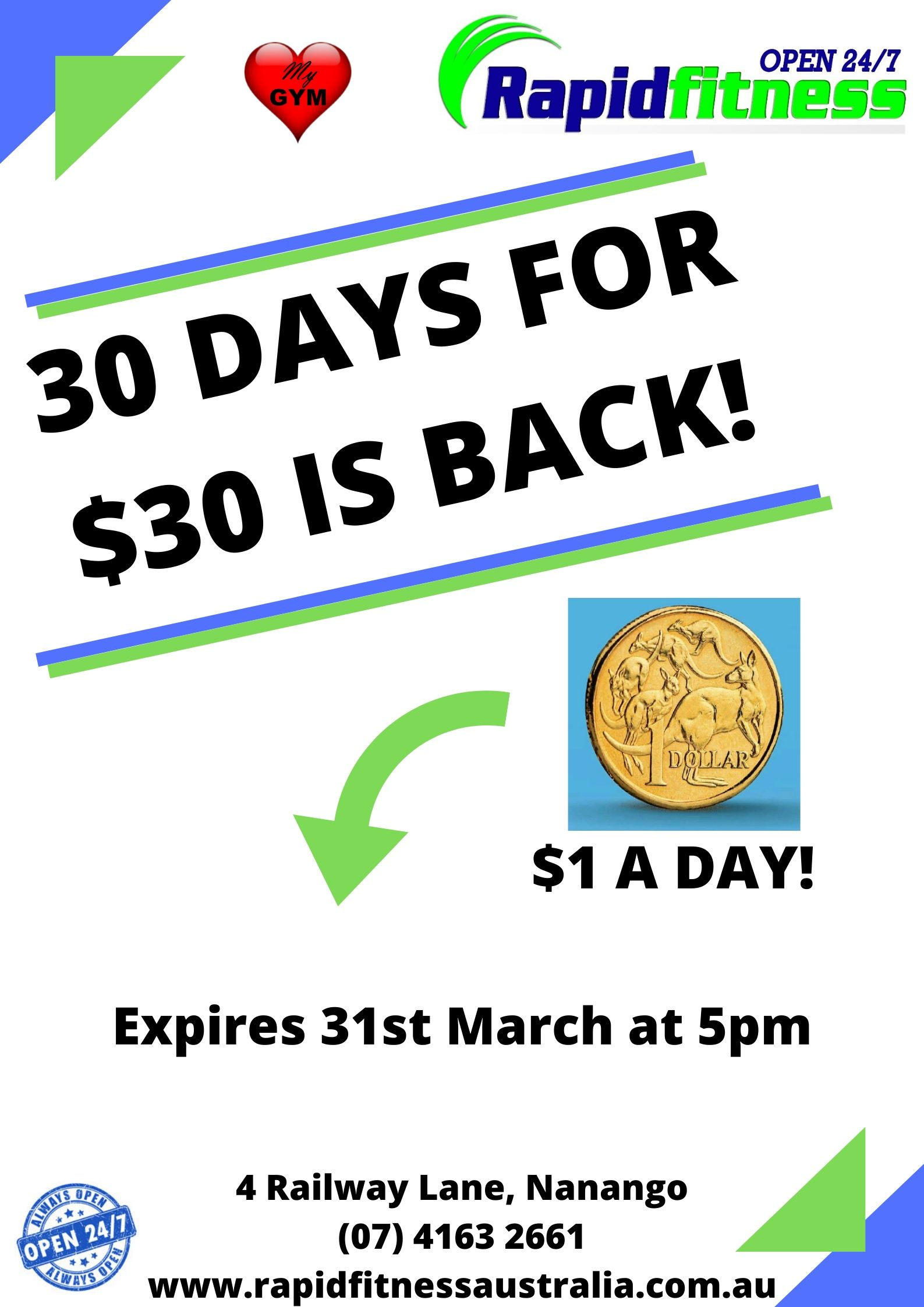 30 DAYS FOR $30 IS BACK!